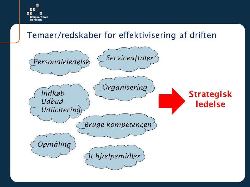 Temaer/redskaber for effektivisering af driften