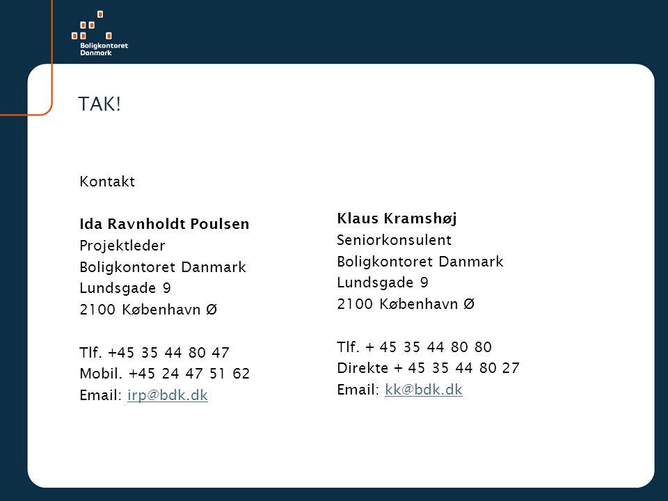 TAK! Klaus Kramshøj Seniorkonsulent. Boligkontoret Danmark. Lundsgade 9. 2100 København Ø.