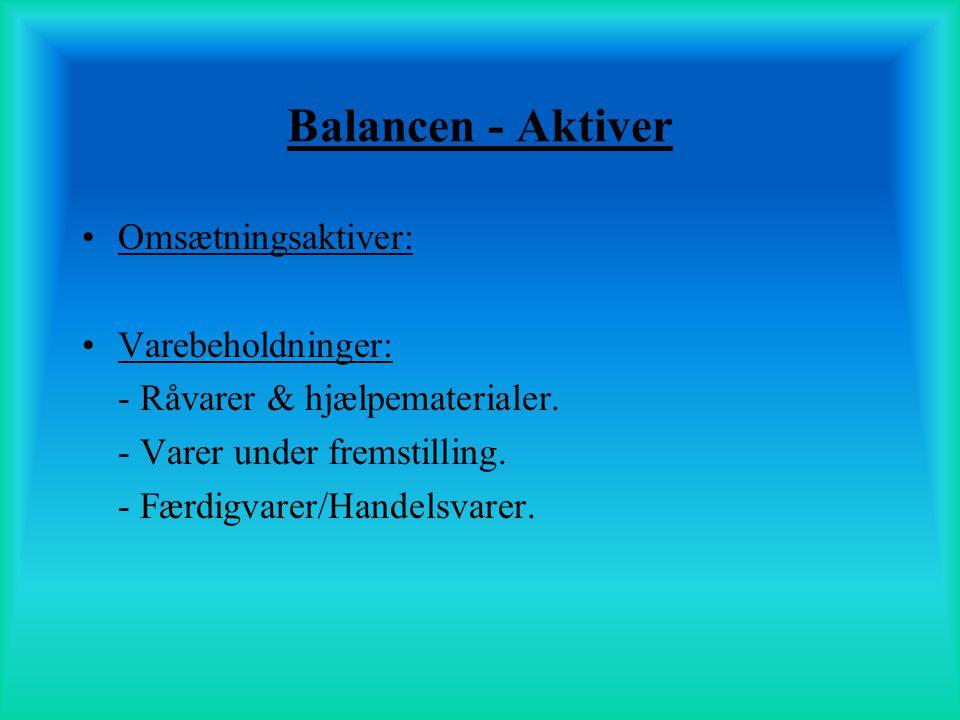 Balancen - Aktiver Omsætningsaktiver: Varebeholdninger:
