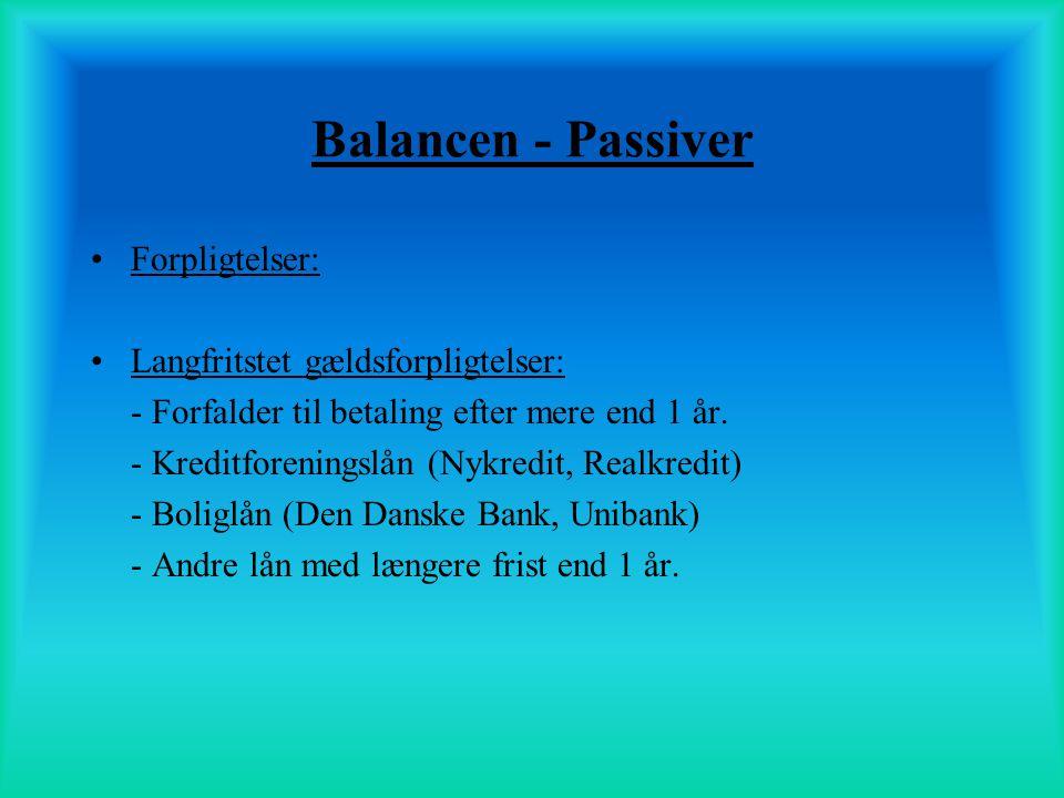 Balancen - Passiver Forpligtelser: Langfritstet gældsforpligtelser: