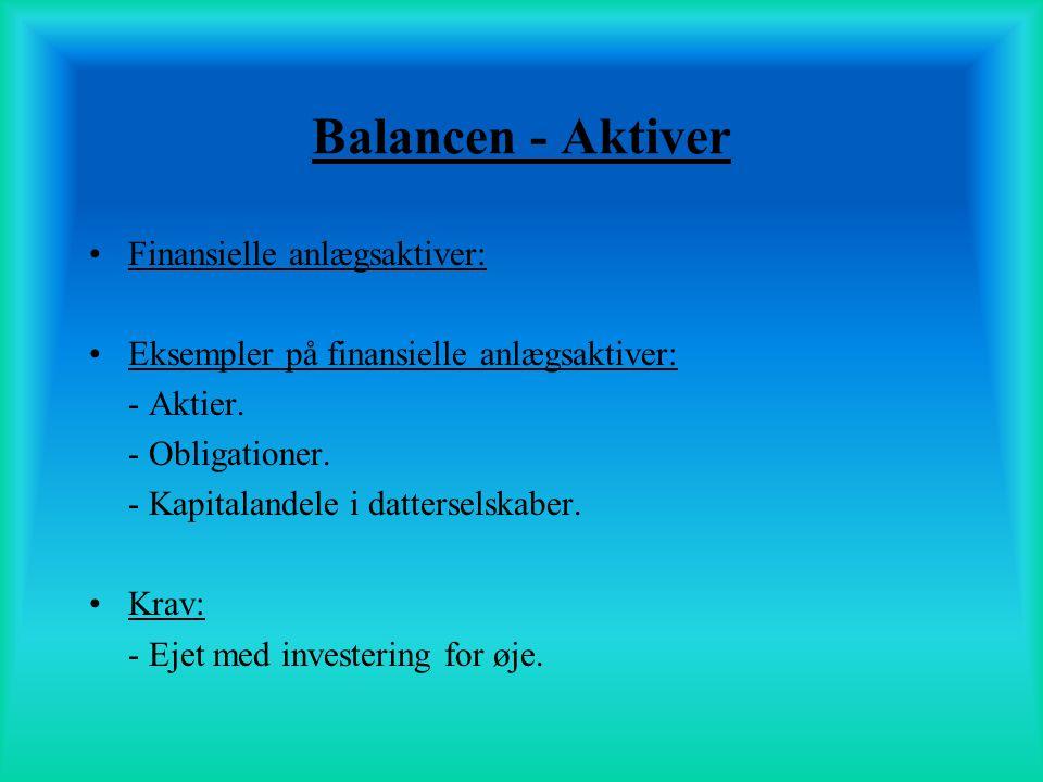 Balancen - Aktiver Finansielle anlægsaktiver: