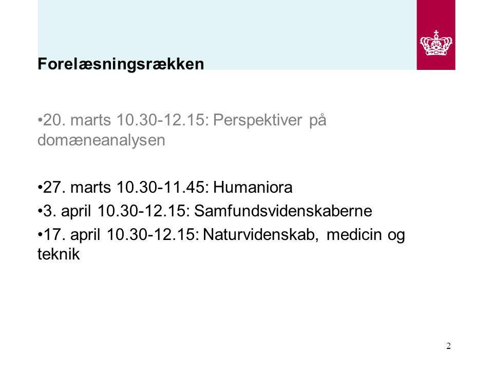 Forelæsningsrækken 20. marts 10.30-12.15: Perspektiver på domæneanalysen. 27. marts 10.30-11.45: Humaniora.