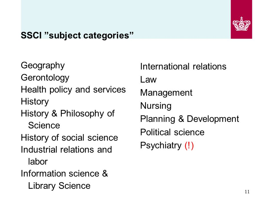 SSCI subject categories