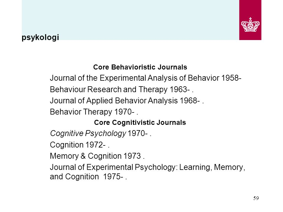 Core Behavioristic Journals Core Cognitivistic Journals