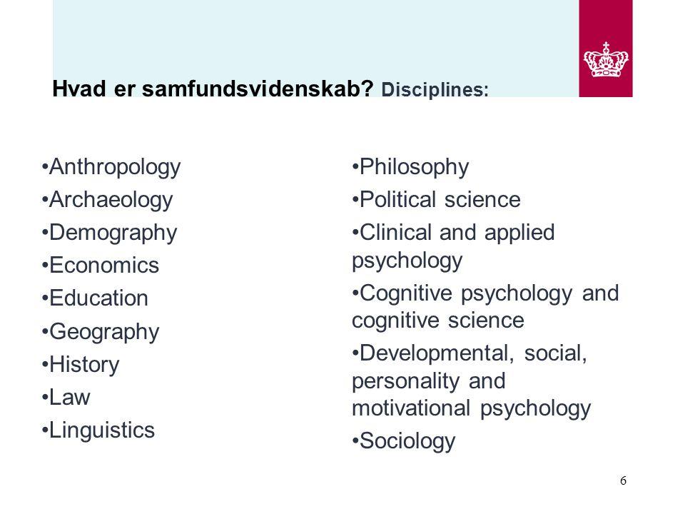 Hvad er samfundsvidenskab Disciplines: