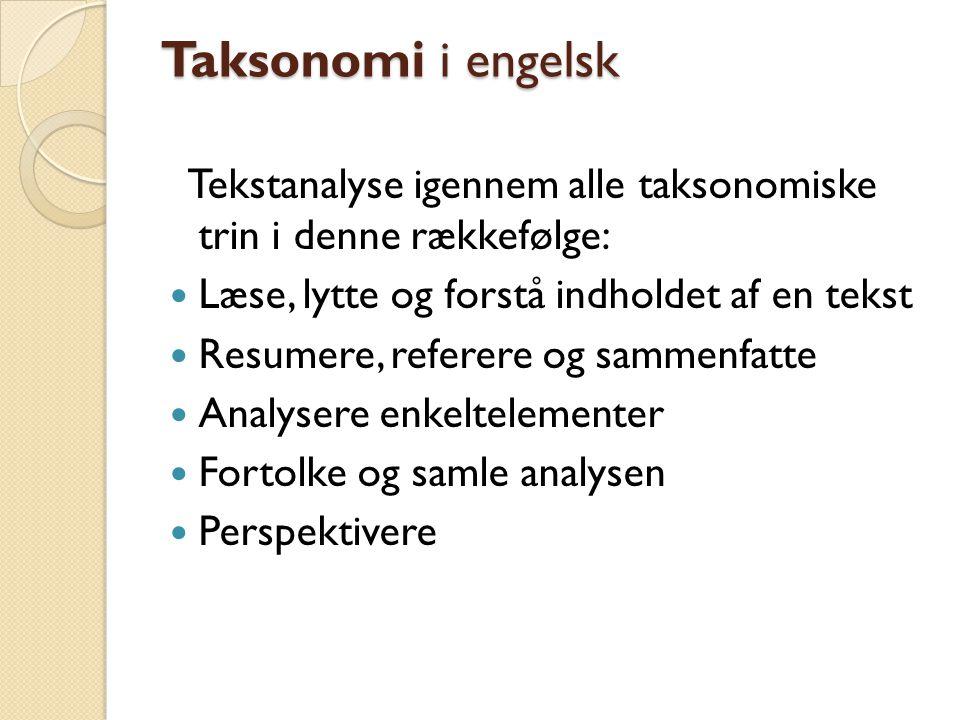 Taksonomi i engelsk Tekstanalyse igennem alle taksonomiske trin i denne rækkefølge: Læse, lytte og forstå indholdet af en tekst.
