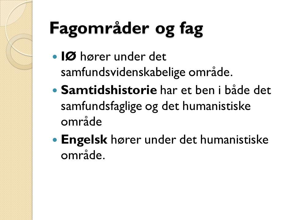 Fagområder og fag IØ hører under det samfundsvidenskabelige område.