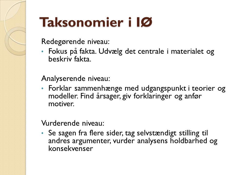 Taksonomier i IØ Redegørende niveau: