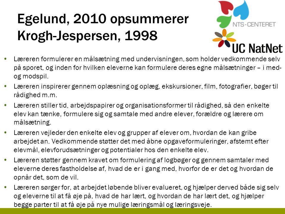 Egelund, 2010 opsummerer Krogh-Jespersen, 1998