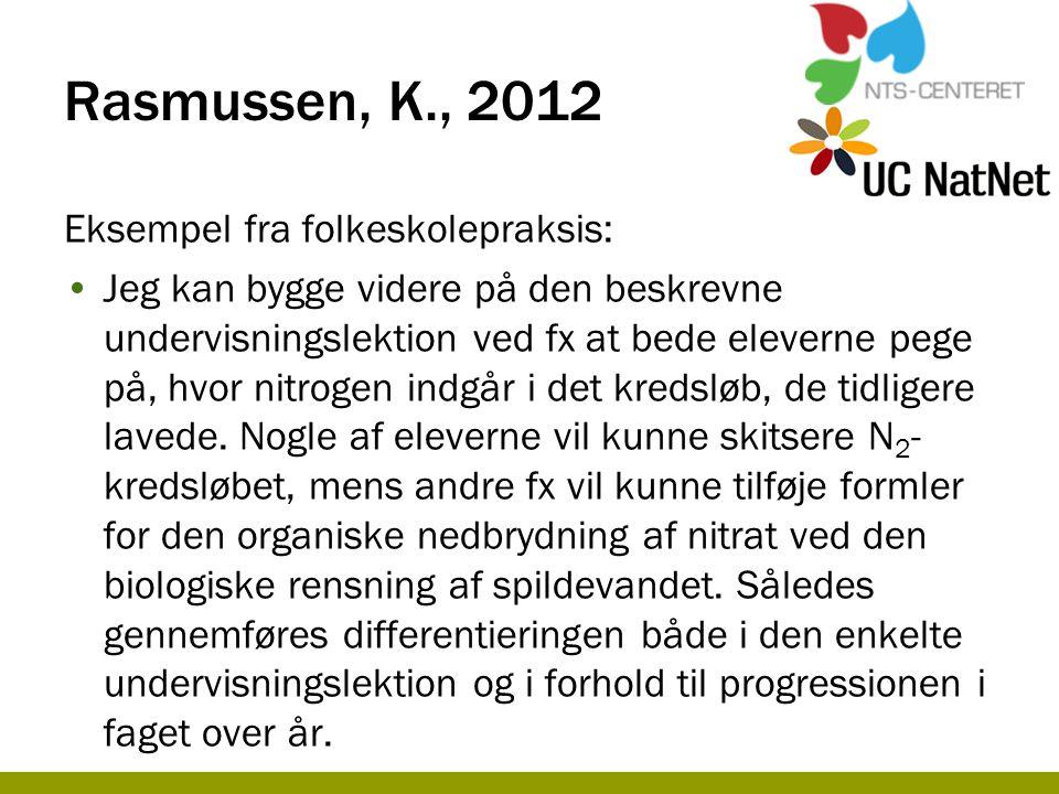 Rasmussen, K., 2012 Eksempel fra folkeskolepraksis: