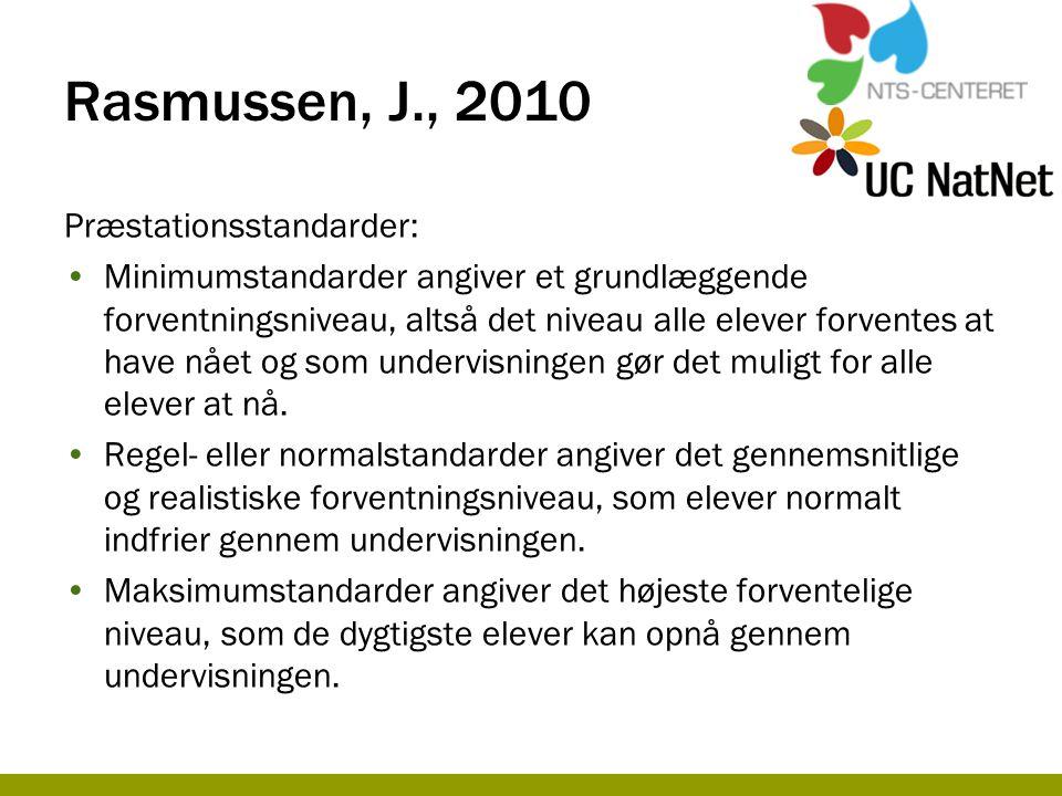 Rasmussen, J., 2010 Præstationsstandarder: