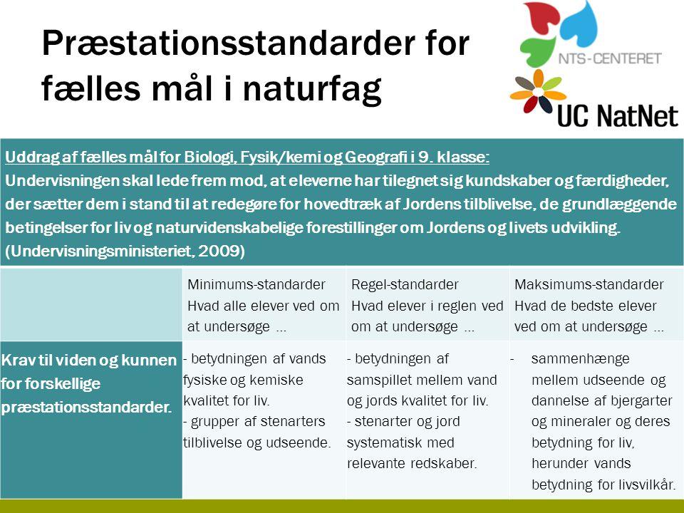 Præstationsstandarder for fælles mål i naturfag