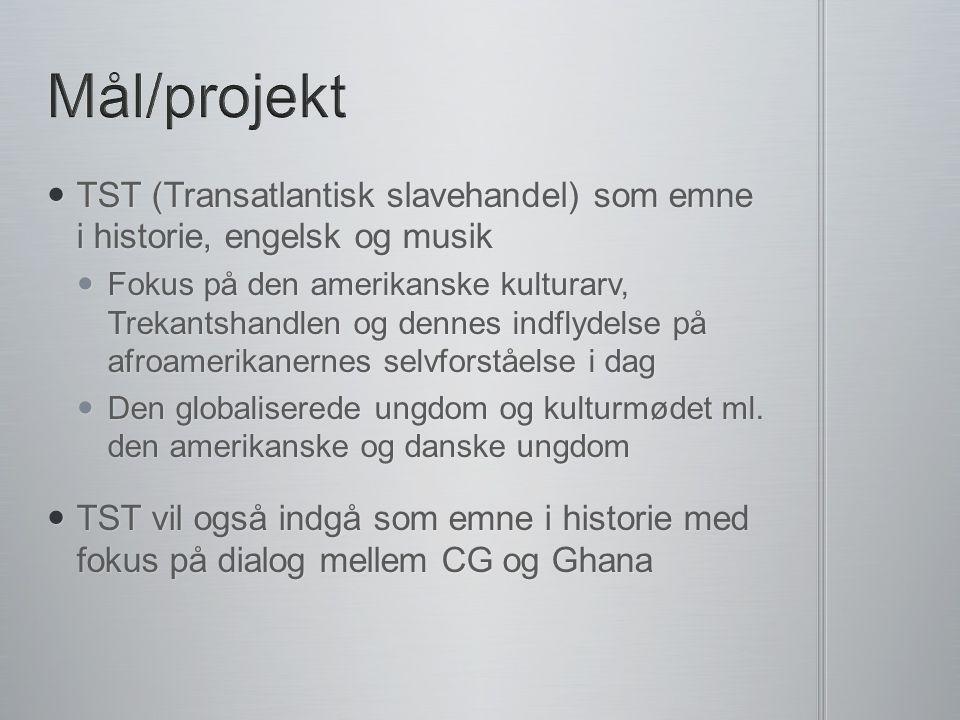 Mål/projekt TST (Transatlantisk slavehandel) som emne i historie, engelsk og musik.