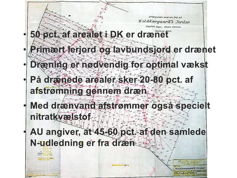 50 pct. af arealet i DK er drænet