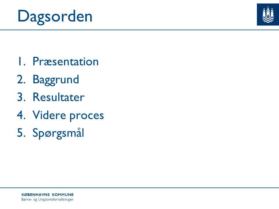 Dagsorden Præsentation Baggrund Resultater Videre proces Spørgsmål