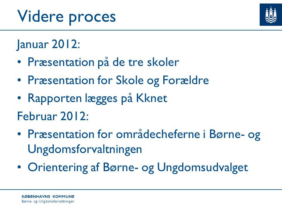 Videre proces Januar 2012: Præsentation på de tre skoler