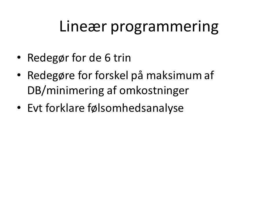Lineær programmering Redegør for de 6 trin
