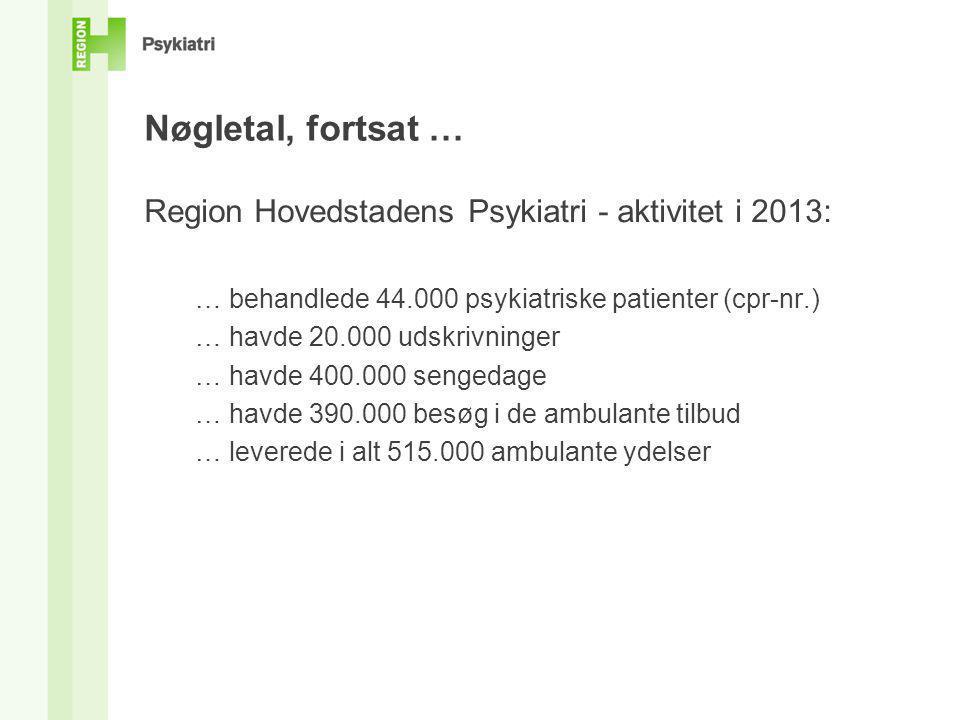 Nøgletal, fortsat … Region Hovedstadens Psykiatri - aktivitet i 2013: