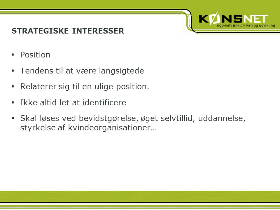 STRATEGISKE INTERESSER