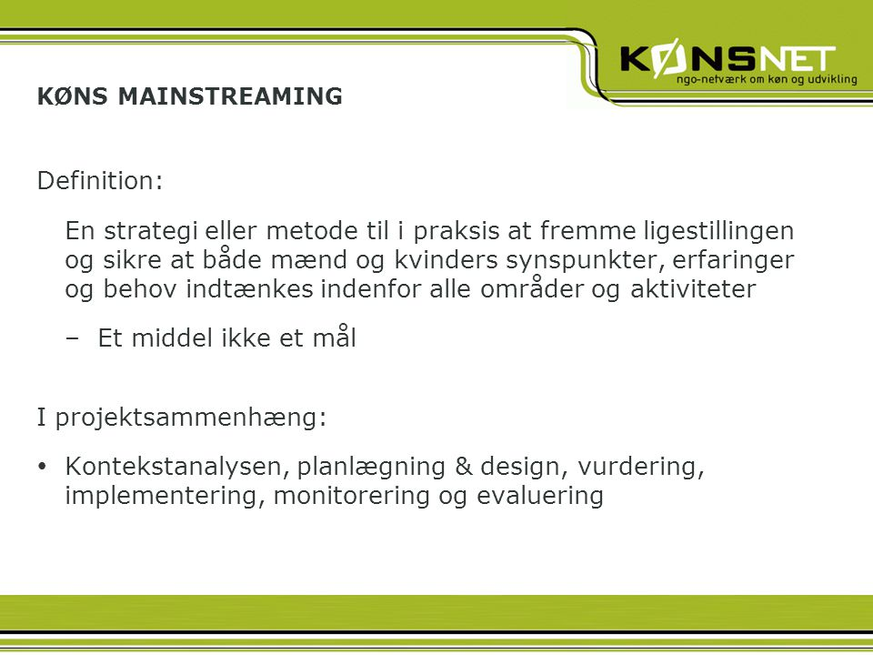 KØNS MAINSTREAMING Definition: