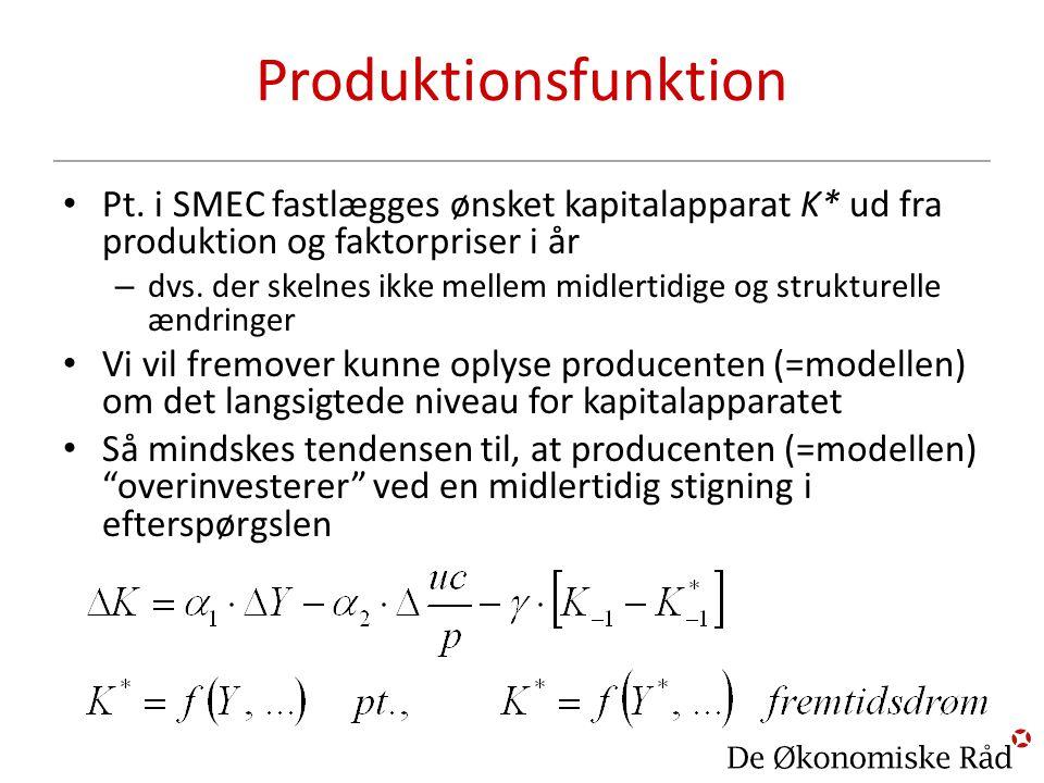 Produktionsfunktion Pt. i SMEC fastlægges ønsket kapitalapparat K* ud fra produktion og faktorpriser i år.