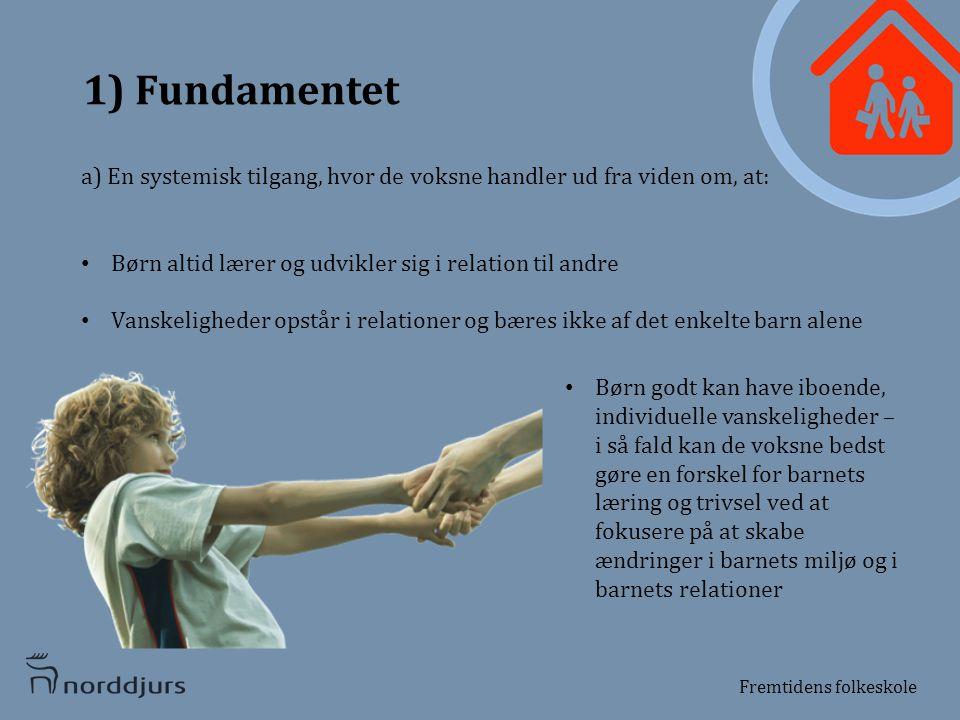 1) Fundamentet a) En systemisk tilgang, hvor de voksne handler ud fra viden om, at: Børn altid lærer og udvikler sig i relation til andre.