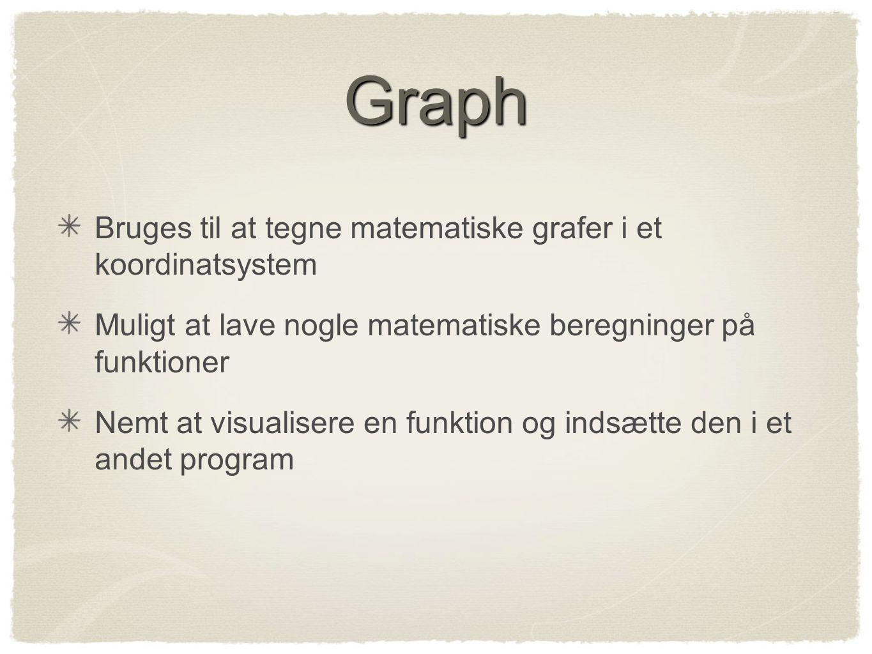 Graph Bruges til at tegne matematiske grafer i et koordinatsystem