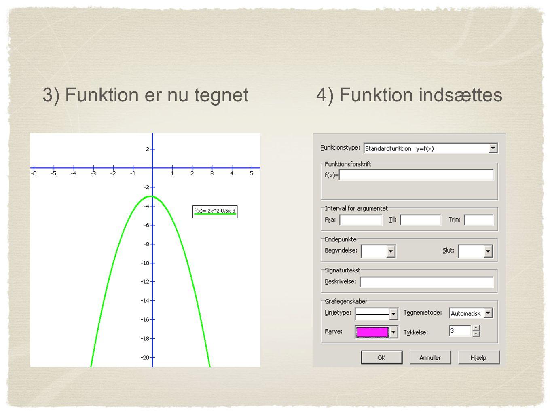 3) Funktion er nu tegnet 4) Funktion indsættes