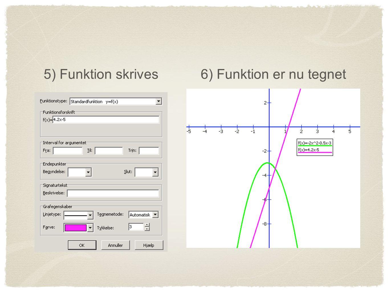 5) Funktion skrives 6) Funktion er nu tegnet