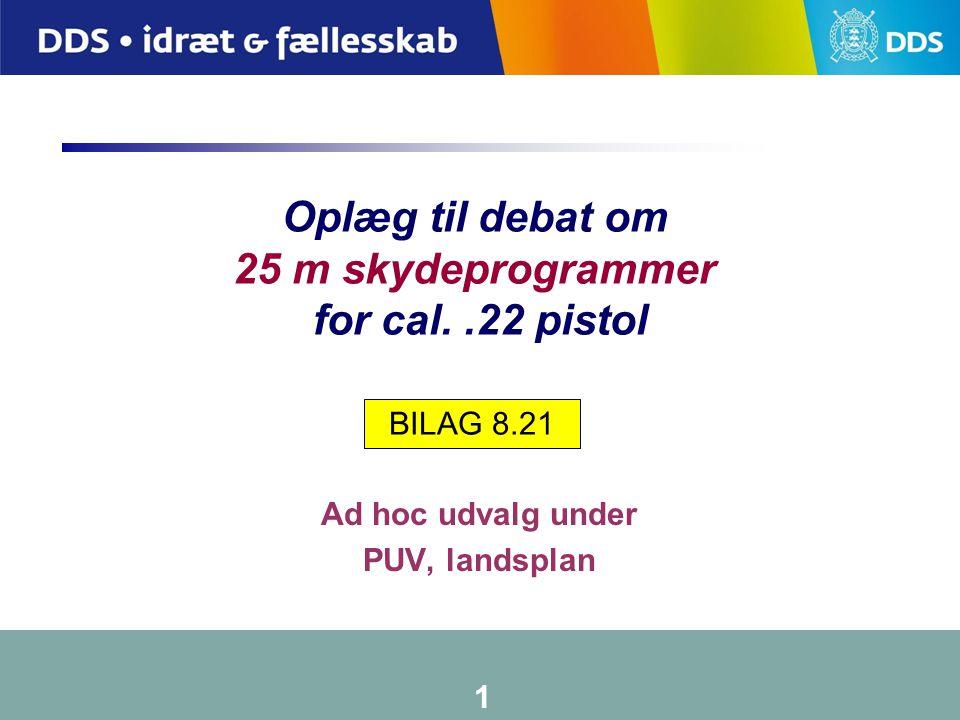 Oplæg til debat om 25 m skydeprogrammer for cal. .22 pistol