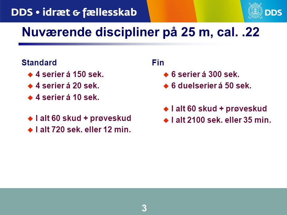 Nuværende discipliner på 25 m, cal. .22