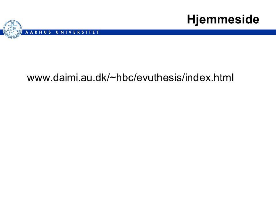 Hjemmeside www.daimi.au.dk/~hbc/evuthesis/index.html