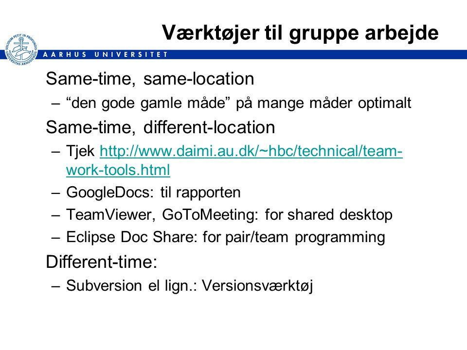 Værktøjer til gruppe arbejde