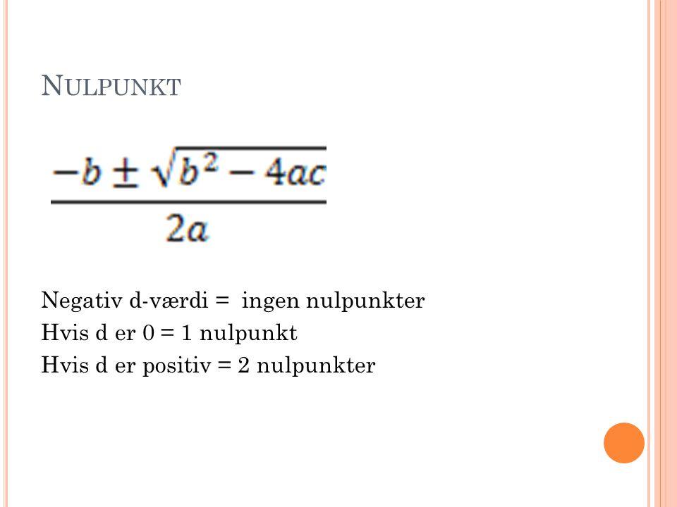 Nulpunkt Negativ d-værdi = ingen nulpunkter Hvis d er 0 = 1 nulpunkt Hvis d er positiv = 2 nulpunkter
