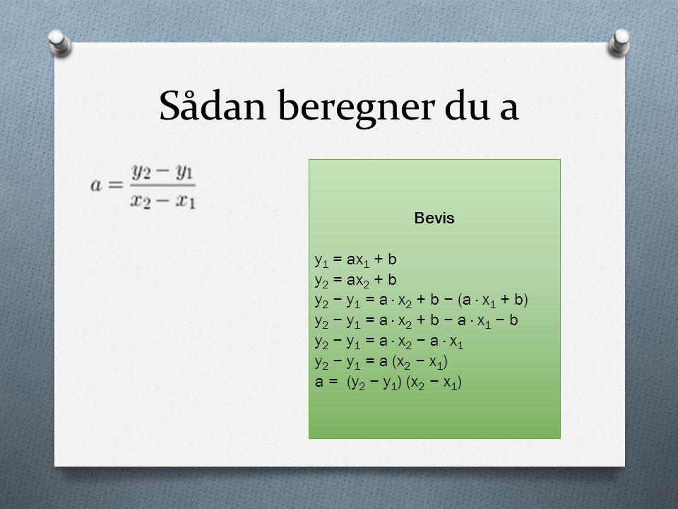 Sådan beregner du a Bevis y1 = ax1 + b y2 = ax2 + b