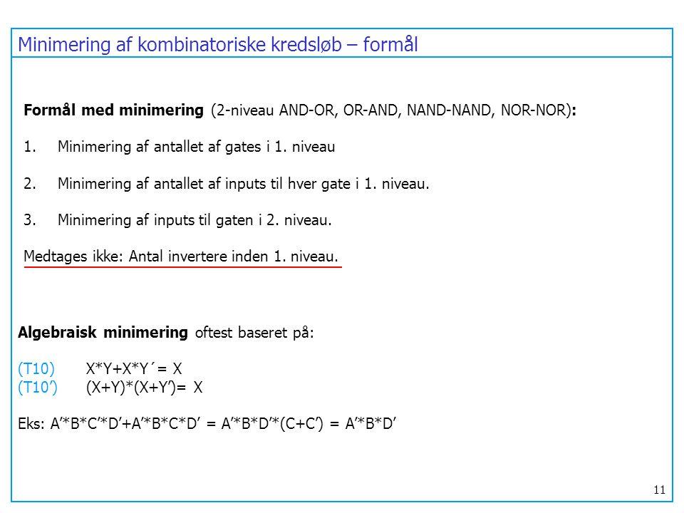 Minimering af kombinatoriske kredsløb – formål