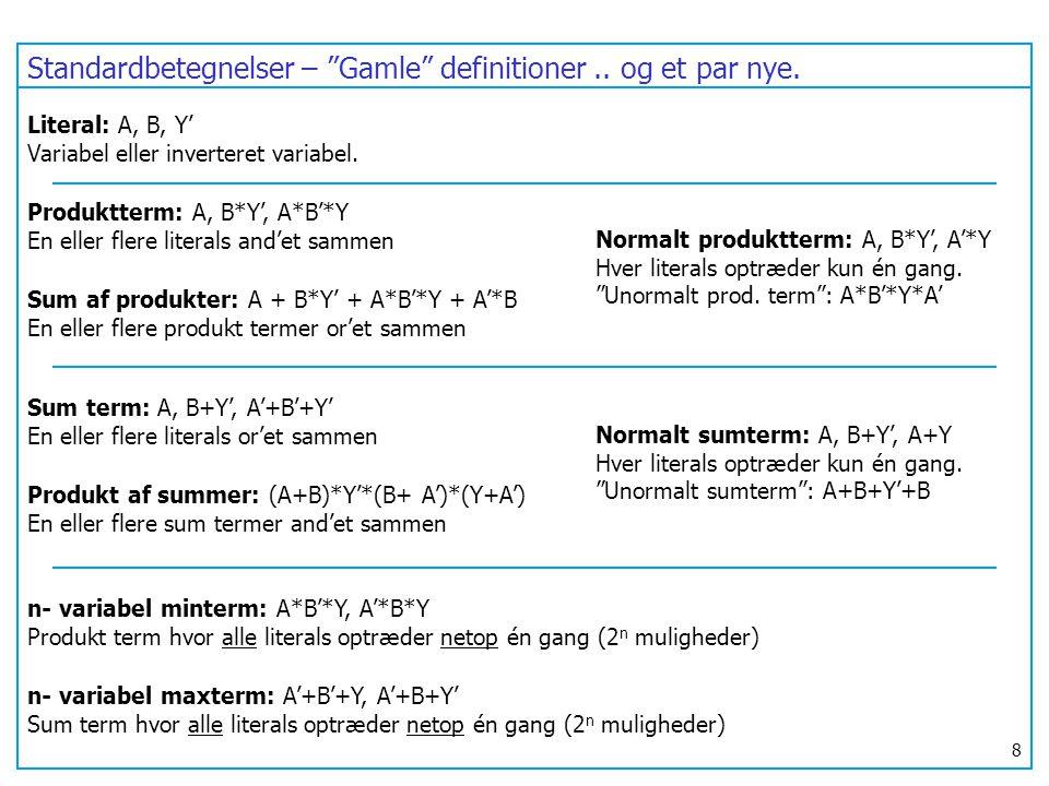 Standardbetegnelser – Gamle definitioner .. og et par nye.