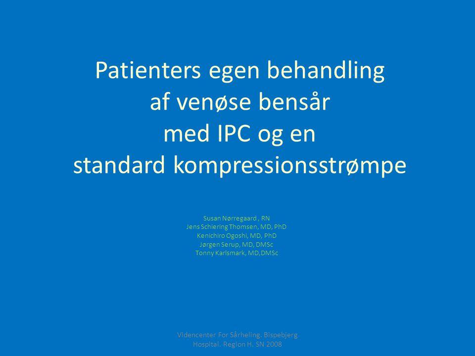 Patienters egen behandling af venøse bensår med IPC og en standard kompressionsstrømpe