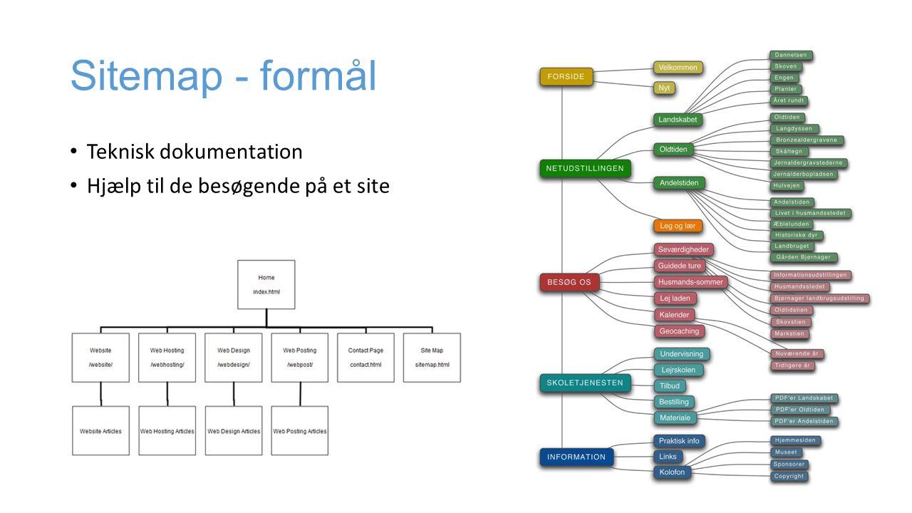 Sitemap - formål Teknisk dokumentation