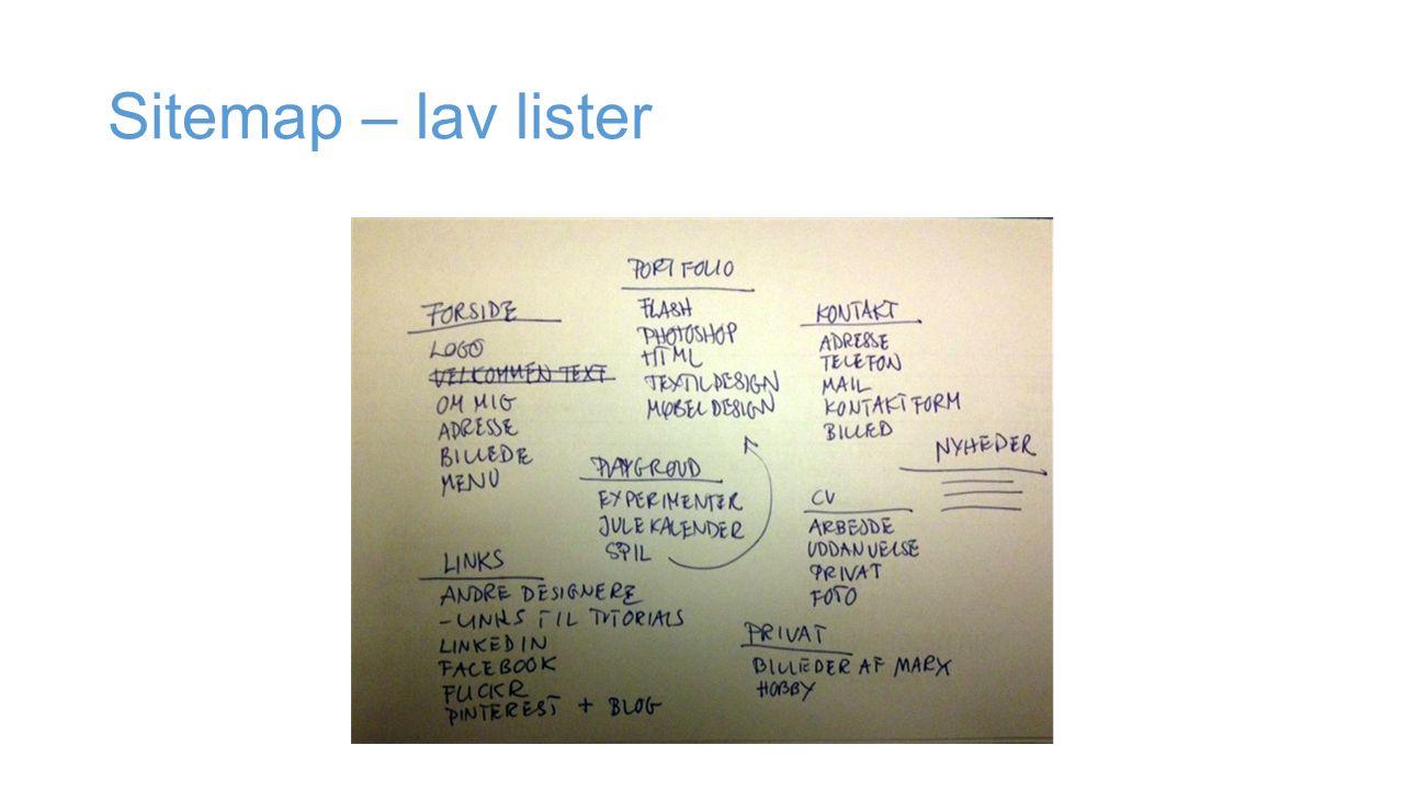 Sitemap – lav lister