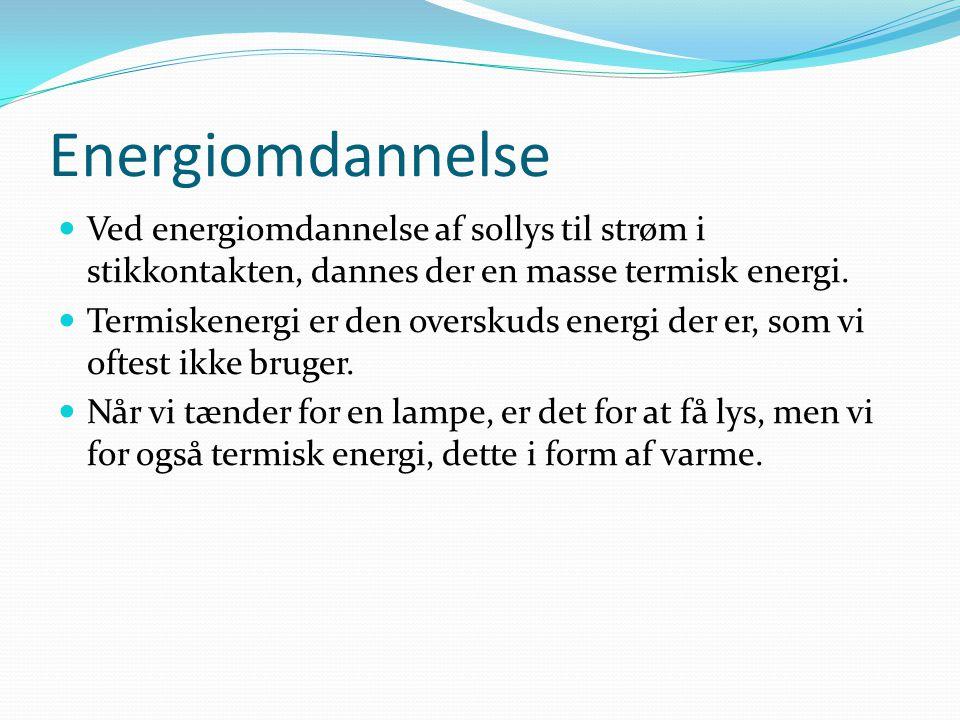 Energiomdannelse Ved energiomdannelse af sollys til strøm i stikkontakten, dannes der en masse termisk energi.
