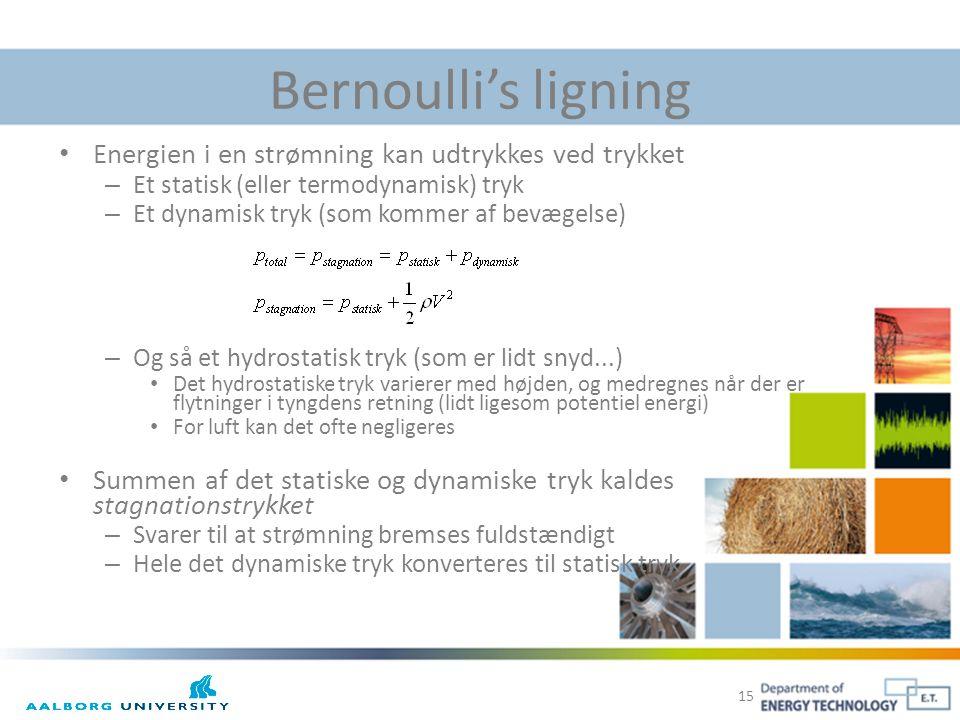 Bernoulli's ligning Energien i en strømning kan udtrykkes ved trykket