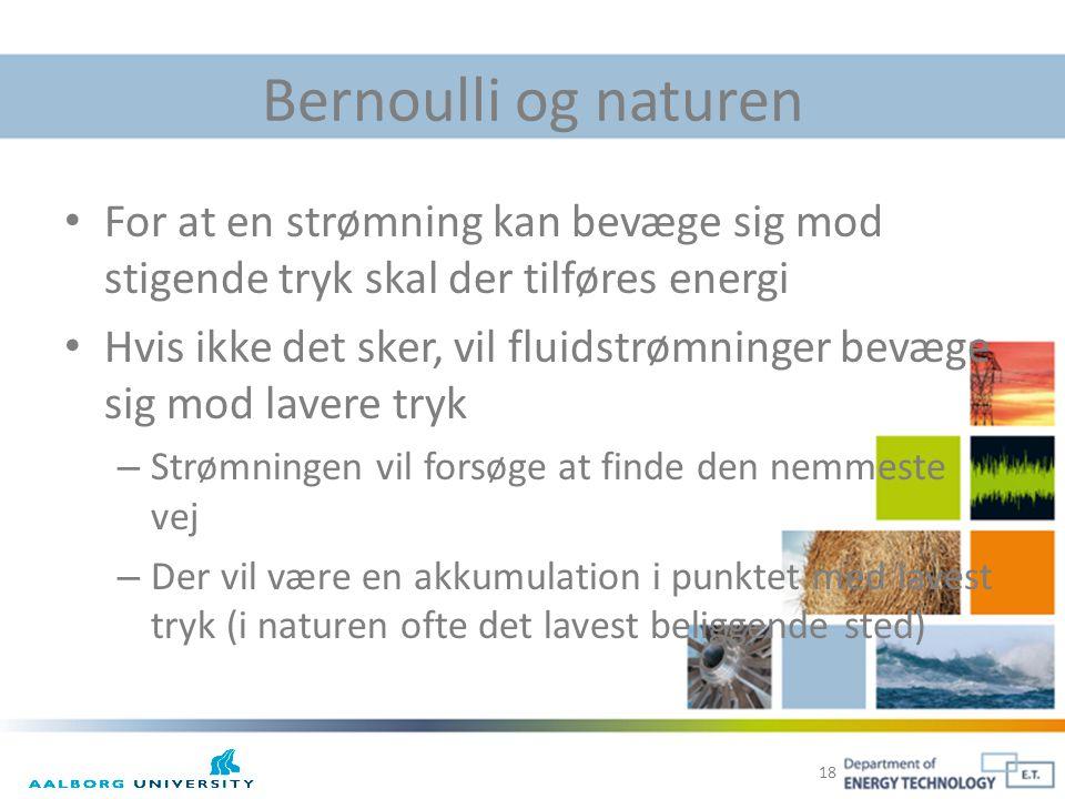 Bernoulli og naturen For at en strømning kan bevæge sig mod stigende tryk skal der tilføres energi.