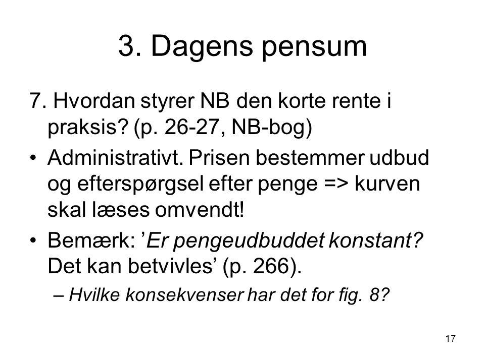3. Dagens pensum 7. Hvordan styrer NB den korte rente i praksis (p. 26-27, NB-bog)