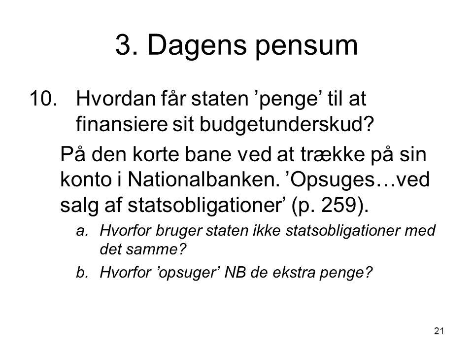 3. Dagens pensum 10. Hvordan får staten 'penge' til at finansiere sit budgetunderskud