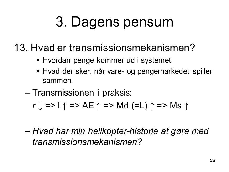 3. Dagens pensum 13. Hvad er transmissionsmekanismen