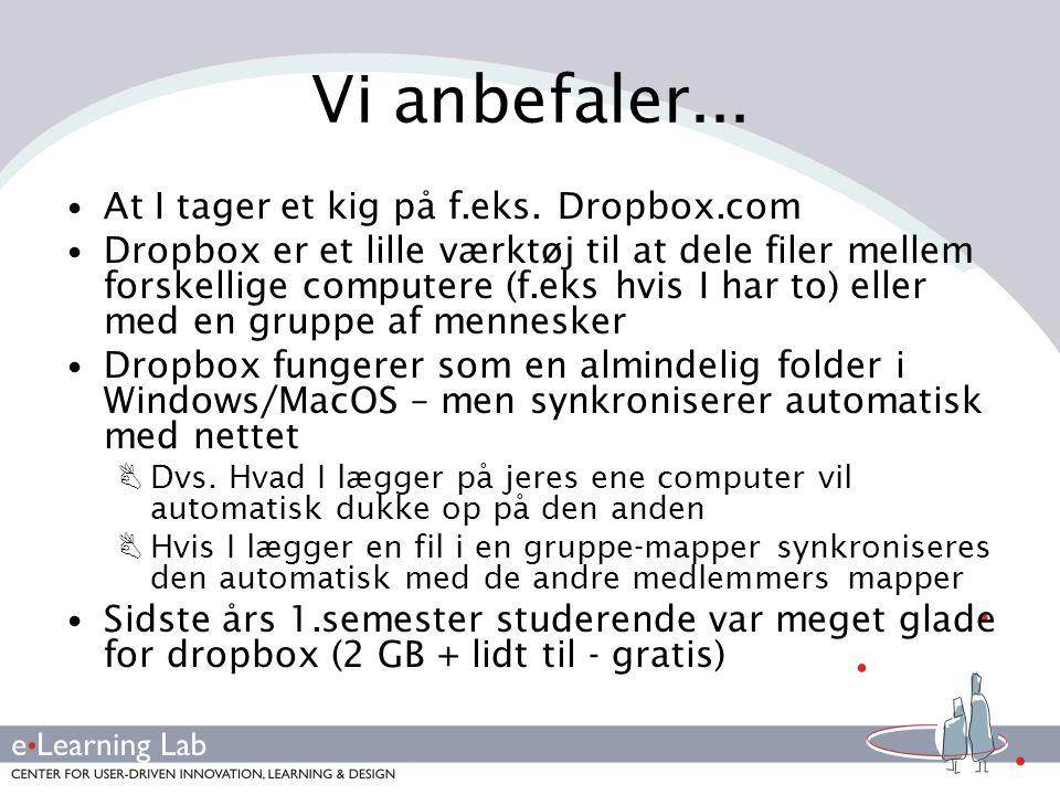 Vi anbefaler... At I tager et kig på f.eks. Dropbox.com