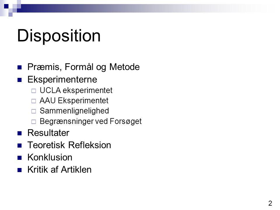 Disposition Præmis, Formål og Metode Eksperimenterne Resultater