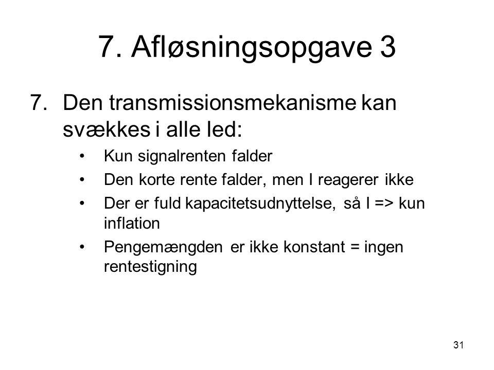 7. Afløsningsopgave 3 7. Den transmissionsmekanisme kan svækkes i alle led: Kun signalrenten falder.