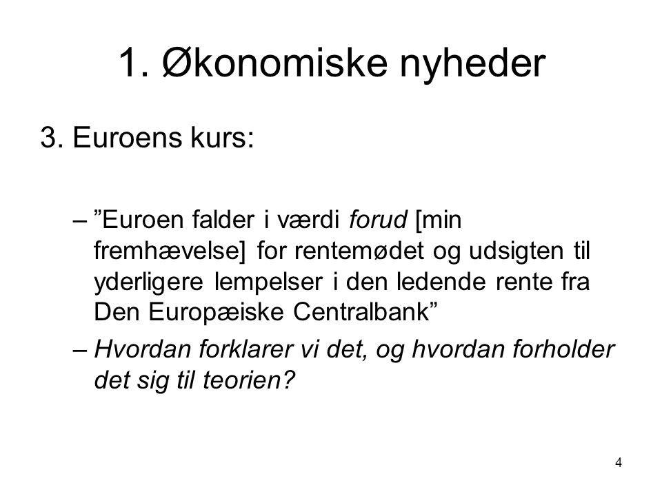 1. Økonomiske nyheder 3. Euroens kurs: